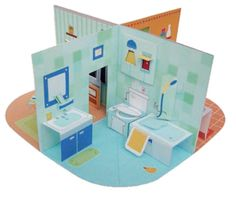 Pop up - paper kawaii Screen Shot at am Origami pop-up book. One suggested use. Paper Doll House, Paper Houses, Paper Dolls, Diy Dollhouse, Dollhouse Furniture, Dollhouse Miniatures, Pop Up Haus, Casa Pop, Concertina Book