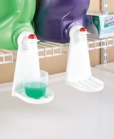 This handy Set of 2 Laundry Room Tidy-Cups helps keep the laundry room cleaner by catching drips from liquid detergent, saving you money. Reusable cover snaps together and onto the spout of an economy-size bottle of detergent or softener. Lay the bottle