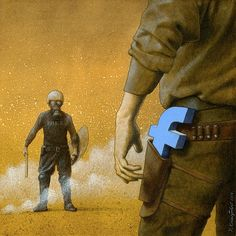 Thought Provoking Paintings By Pawel Kuczynski 25  Facebook as a weapon, more & more useful