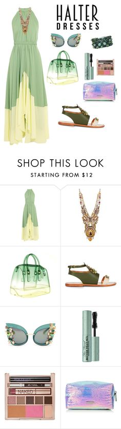 """""""Untitled #135"""" by jennyharris ❤ liked on Polyvore featuring Saloni, Ayala Bar, Furla, Sanchita, Dolce&Gabbana, Too Faced Cosmetics, Urban Decay, HEET, polyvorecontest and halterdresses"""