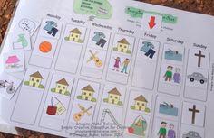 Weekly Schedule, Free, Children, activities, days, visual cue, chart