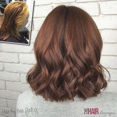 A lovely 'dark copper' colour correction by our Style Director - Bea Ford Bea, who is a top level style director in our salon, is part of the world's most elite group of hair colourists; the Goldwell Master Colourists. Hair Color Auburn, Ombre Hair Color, Brown Hair Colors, Brown Auburn Hair, Dark Auburn, Short Auburn Hair, Auburn Balayage, Balayage Hair, Auburn Highlights