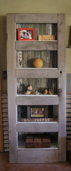 DIY::Four Ways To Give Old Doors New Life! How Lovely is This Easy Leaning Shelf ?