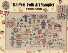 Halloween Cross Stitch Patttern and Harvest Folk Sampler