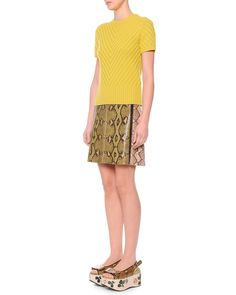 Marni Short-Sleeve Chevron-Knit Sweater & Colorblock Python/Patent Mini Skirt