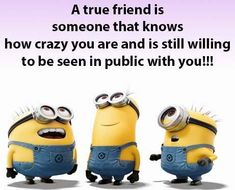 A True Friend Is Someone That Knows How Crazy You Are And Is Still Willing To Be Seen In Public With You funny funny quotes minion minions minion quotes minion quotes and sayings