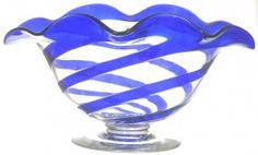 "6 1/2"" X 12"" PAIRPOINT PEDESTAL OVAL SHAPED BOWL, BLUE TWIST GLASS    AS FEATURED IN MT. WASHINGTON AND PAIRPOINT GLASS BY WILSON & SPILLMAN VOL 2 PAGE 305"