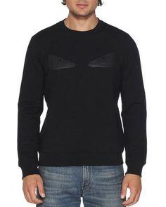 6012c5a28fbfd N4K2B Fendi Rubberized-Stud Monster Eyes Sweatshirt