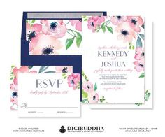 FUCHSIA & NAVY WATERCOLOR Flowers Wedding Invitation and RSvP Boho Floral 2 Pc Suite Blush Pink Blue Free Priority Shipping or DiY- Kennedy