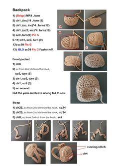 trendy ideas for crochet mantas tutorial Crochet Keychain Pattern, Crochet Headband Pattern, Crochet Doll Pattern, Tutorial Crochet, Crochet Doll Dress, Crochet Barbie Clothes, Accessoires Barbie, Kawaii Crochet, Crochet Backpack