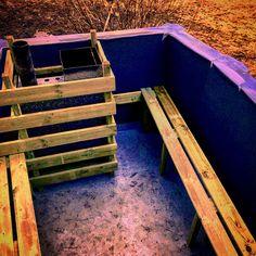 My pallet hot tub inside Outdoor Furniture, Outdoor Decor, Garden Bridge, Pallet, Tub, Outdoor Structures, Home Decor, Homemade Home Decor, Bath Tub