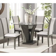 Dining Room Sets Glass top Fresh Kecco Grey 5 Piece Glass top Dining Set Table with 4 Round Pedestal Dining Table, Glass Dining Table, Round Dining, Dining Tables, Dining Area, Kitchen Tables, Dining Room Sets, 5 Piece Dining Set, Tempered Glass Table Top