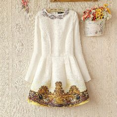 White Long Sleeve Metal Beading Neckline Retro Print Dress but DON'T buy from them. cute stuff to browse for inspiration but they are a scam-o-rama!