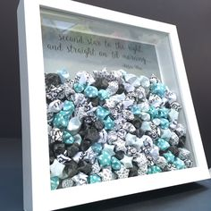 Baby Peter Pan Frame, Lucky Stars Frame with Quote Shadowbox Frame Custom Wall Art Newborn Baby Shower Nursery Decor – Origami World Origami Lucky Star, Origami Stars, Origami Flowers, Diy Baby Gifts, Personalized Baby Gifts, Arte Quilling, Paper Art, Paper Crafts, Diy Shadow Box