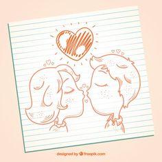 Hand drawn kissing couple