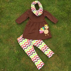 Preorder -Brown Top with Embroidered Turkey and chveron leggings and scarf set
