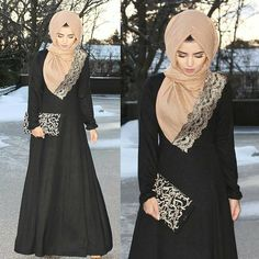 """""""So many questions about this black embroidery Arabic clutch and royal lace hijab. Both are from @thehijabsouq  Black maxi dreas from @alzahraboutique…"""""""