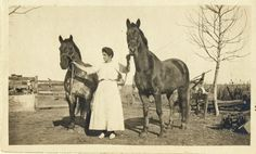 Woman with two work horses on farm