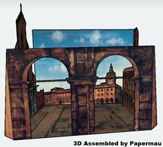 This is the Piazza Maggiore, situated in Bologna, Italy and this beautiful paper model diorama was originally published on April 10, 1966, in the issue 15 of Italian children's magazine Corriere dei Piccoli. r