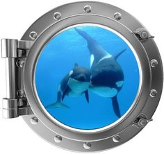 Porthole Window Wall Decal Killer Whale & Cub Silver Port Scape Orca Baby Whale Ocean Sea Animal Wall Art Peel and Stick Kids Room Decor Wall Stickers Ocean, Wall Stickers Murals, Wall Decal Sticker, Baby Whale, Window Wall, Window View, Game Room Decor, Killer Whales, Kids Room