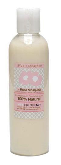 Leche limpiadora y desmaquilladora de Rosa Mosqueta. Leche fluida para eliminar toxinas, restos de maquillaje e impurezas antes de aplicar la crema de noche. Envase de 200 ml.