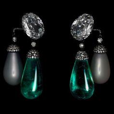 JAR Diamond, Emerald and Pearl earrings