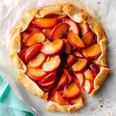Ginger Plum Tart Recipe -Sweet cravings, begone: This free-form plum tart is done in only 35 minutes. Plus, it's extra-awesome when served warm. —Taste of Home Test Kitchen Plum Recipes, Tart Recipes, Dessert Recipes, Cooking Recipes, Sweet Recipes, Yummy Recipes, Diabetic Friendly Desserts, Diabetic Recipes, Diabetic Foods