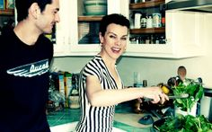 """Debi Mazar. I love her show """"Extra Virgin"""" on the Cooking Channel. And her hub's got a cute smile and some great ink."""