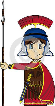 Cute Cartoon Roman Soldier on Guard with Spear  Ancient Rome Historical Illustration - EPS file is also available.