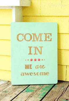 Fun Welcome sign- create easily with Hazel and Ruby peel-able stencil. This is happening
