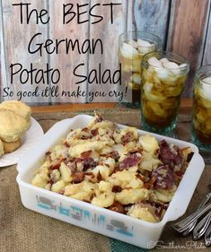 The BEST German Potato Salad - Learn the secrets that make this the BEST German Potato Salad EVER! Recipe from Southern Plate. The BEST German Potato Salad - Learn the secrets that make this the BEST German Potato Salad EVER! Recipe from Southern Plate. Potato Dishes, Food Dishes, Side Dishes, Bratwurst, Barbecue Sides, German Potatoes, The Good German, Crunch, Soup And Salad