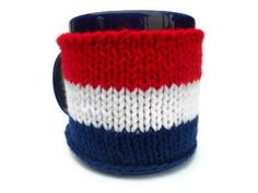 Knit Red, White, and Blue Cup Mug Cozy for the 4th of July and Operation Gratitude by stinkRknits, $20.00
