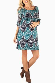 Navy-Blue-Teal-Printed-Chiffon-Maternity-Dress