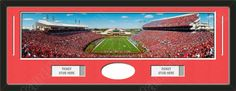 One framed large University of Louisville stadium panoramic with openings for one or two ticket stubs* and one or two 4 x 6 inch personal photos**, double matted in team colors to 39 x 13.5 in.  The lines show the bottom mat color.  $179.99 @ ArtandMore.com