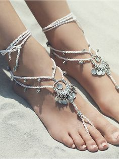 Free People Macrame Anklet Duo, $38.00