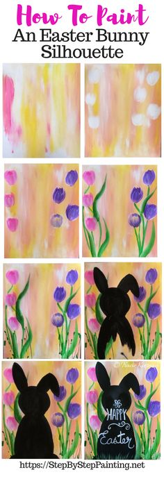 How To Paint An Easter Bunny Silhouette Description Learn how to paint a pink and yellow background with tulips and a bunny silhouette. Bunny #artprojects