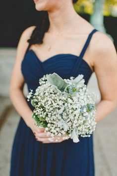 baby's breath bouquet with dusty miller, photo by Mallory and Justin Photographers http://ruffledblog.com/glam-wedding-in-a-cleveland-warehouse #dustymiller #weddingbouquet #bouquets