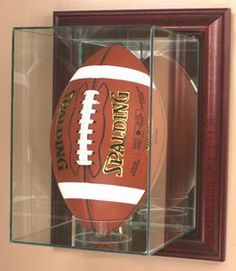 glass wall mounted upright football display case upright football holder engraved
