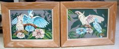 """Pair of Paint by Number - PBN - Vintage  """"Song of the Cockatoo""""  by Pann Products 12x9   -  FREE SHIP"""