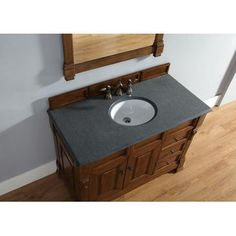 """James Martin Brookfield 48"""" Single Cabinet W/ Drawers In Country Oak from BEYOND Stores brings elegance to your bathroom decor immediately. Looking to amp up your bathroom decor in a big way? Check out all we have to offer at Beyond Stores #homedecor #bathroomdecor #bedroomdecor"""
