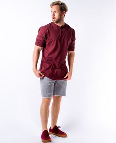 Ambig Oxblood Three Quarter Sleeve Henley
