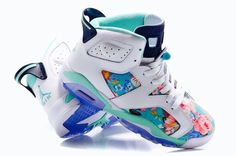 """quality design aa9f1 d9c89 Womens Air Jordan 6 GS """"Floral"""" Custom White Turquoise For Sale In Girls  Size"""