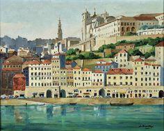 Ribeira do Porto. Pintura de J. Baltar