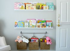 Hang baskets from a rod as toy storage in the nursery! - Project Nursery