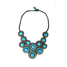 Thai-handicraft Gold-tone Turquoise and Blue Crystal Necklace and Earrings Set (Thailand) | Overstock.com Shopping - The Best Deals on Jewelry Sets