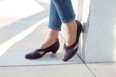 SALE 30% off Leather Shoes Plum Leather Shoes by OliveThomasShoes