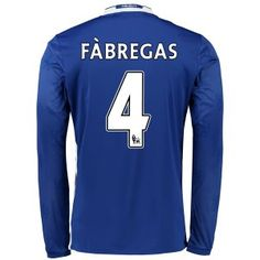 Chelsea 16-17 Cheap Home LS Soccer Shirts #4 FABREGAS [E261]