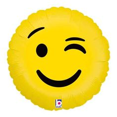 """We love these super fun Emoji Balloons! This 18"""" """"Wink"""" Mylar Foil Balloon is perfect for an Emoji Birthday Party, Girl's Night, Tween party, or any party you'd like to add a little fun. Helium qualit"""