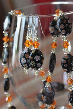 Millefleurs Glass Bead and Swarovski Crystal by tangerinecrafts, $36.00