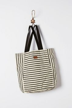 Stripe Play Tote from Anthropologie - inspiration for bags to sew Tote Purse, Tote Handbags, Tote Bags, Striped Bags, Fabric Bags, Fashion Bags, Style Fashion, Bucket Bag, Bag Accessories